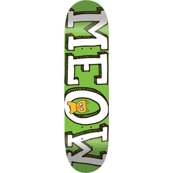 "Meow Skateboards Logo Mini Green Skateboard Deck - 7.5"" x 30.25"""