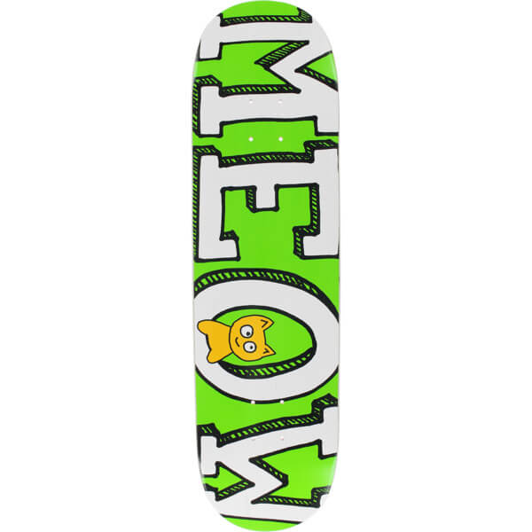 "Meow Skateboards Logo Green Skateboard Deck - 8.25"" x 32.125"""