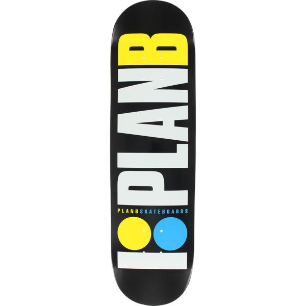 """Plan B Skateboards OG Neon Black / White / Yellow / Blue Skateboard Deck - 8"""" x 31.5"""""""