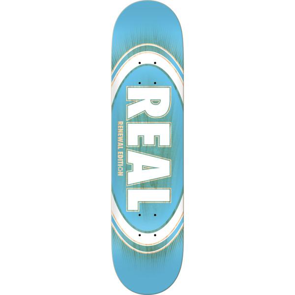 "Real Skateboards Oval Burst Fade Renewal Blue Skateboard Deck - 8.5"" x 32.2"""