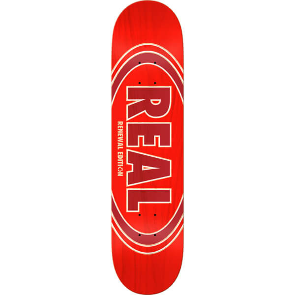 "Real Skateboards Oval Duofade Renewal Red Skateboard Deck - 8.06"" x 31.8"""