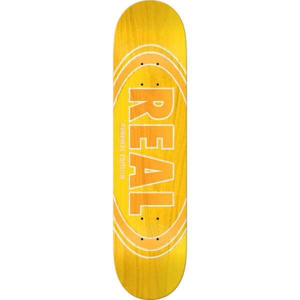"Real Skateboards Oval Duofade Renewal Yellow / Orange Skateboard Deck - 8.25"" x 32"""