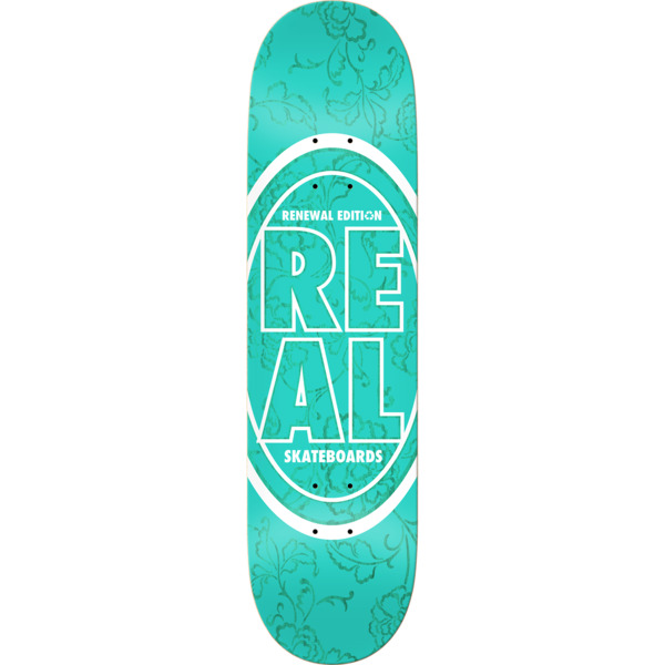 "Real Skateboards Stacked Floral Teal Skateboard Deck - 8.5"" x 32.25"""