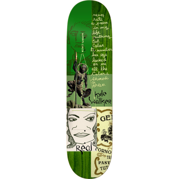 "Real Skateboards Kyle Walker Postcards From Mark Skateboard Deck - 8.38"" x 32.45"""