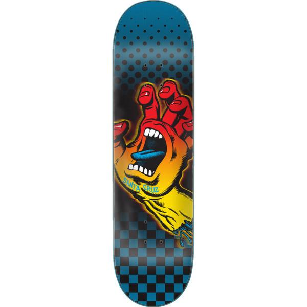 "Santa Cruz Skateboards Aura Hand Blue / Black / Yellow / Red Skateboard Deck - 8.12"" x 31.7"""