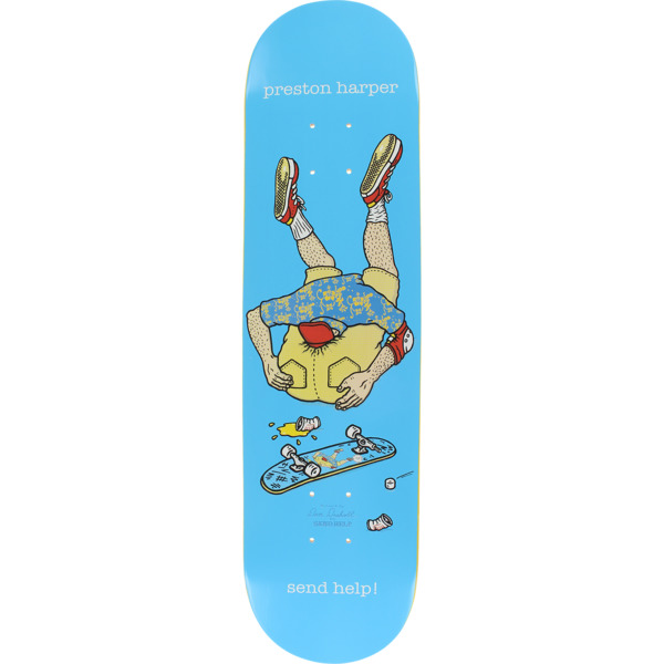 "Send Help Skateboards Preston Harper Asshead Blue Skateboard Deck - 8"" x 32"""