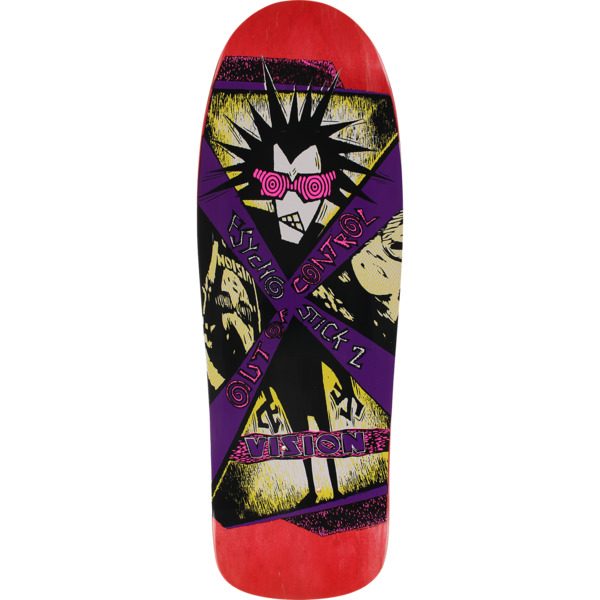 "Vision Skateboards Psycho Stick II Red Stain Old School Skateboard Deck - 10"" x 30.5"""