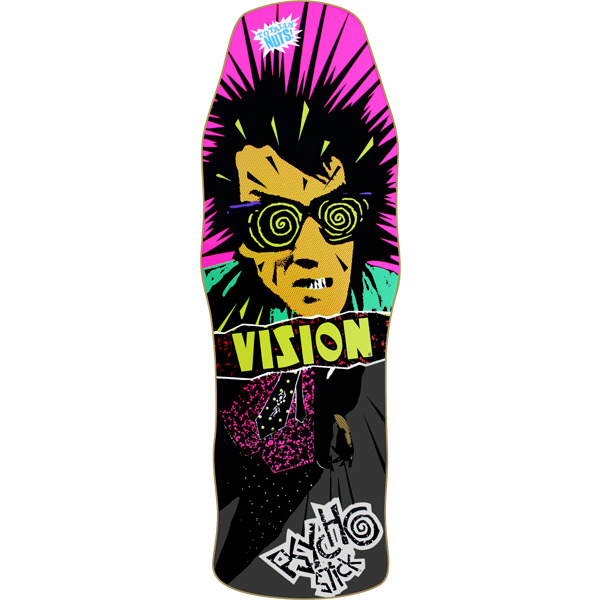"Vision Skateboards OG Psycho Stick Black Old School Skateboard Deck - 10"" x 30"""