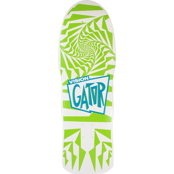 "Vision Skateboards Mark ""Gator"" Rogowski Gator II Modern Concave White / Green Old School Skateboard Deck - 10.2"" x 30.5"""
