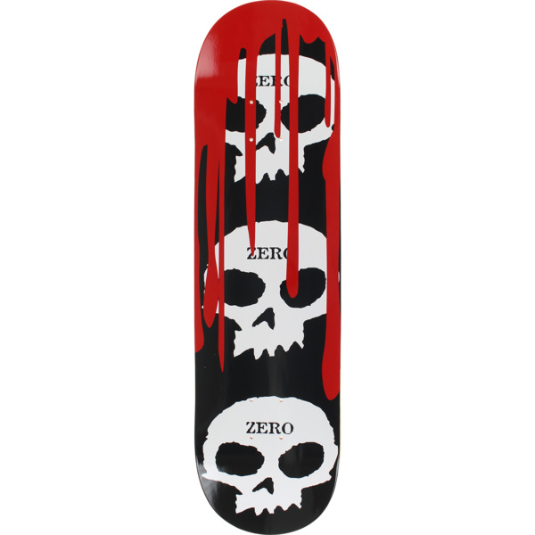 "Zero Skateboards 3 Skull With Blood Black / White / Red Skateboard Deck - 8.25"" x 31.9"""