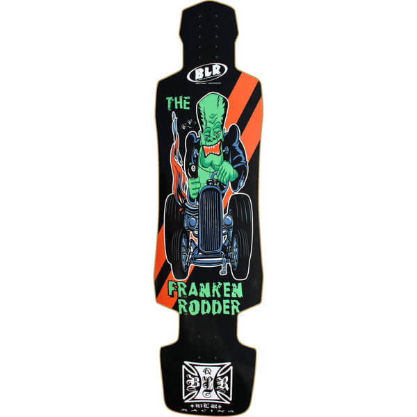 Black Leather Racing Franken Rodder Downhill Longboard Skateboard Deck