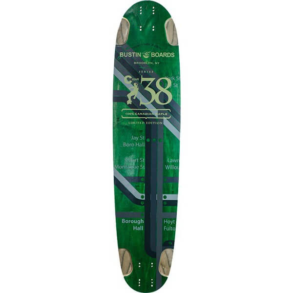 "Bustin Skateboards Cigar 38 Subway Green Longboard Skateboard Deck - 8.5"" x 38"""