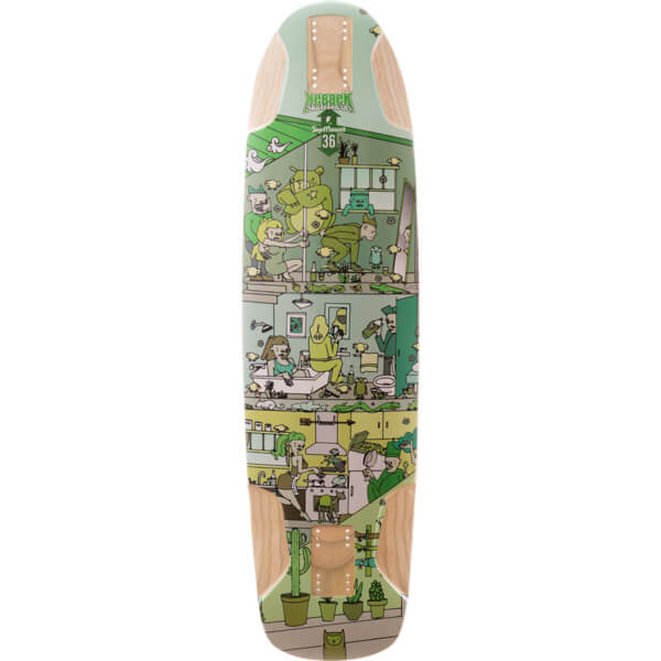 "Kebbek Skateboards Skatehouse Top Mount Green Longboard Skateboard Deck - 9.5"" x 36"""