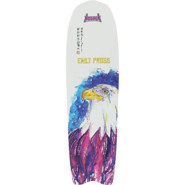 "Kebbek Skateboards Emily Pross City White Longboard Skateboard Deck - 8.8"" x 32.5"""