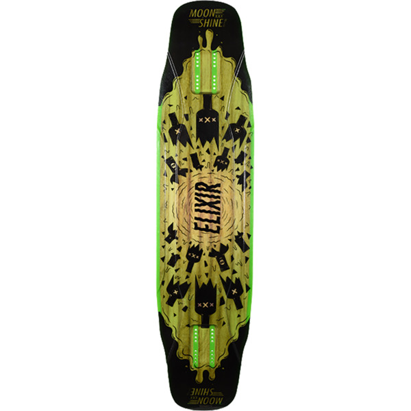 "Moonshine MFG 2019 Elixer Black / Green Longboard Skateboard Deck - 9.5"" x 40.5"""