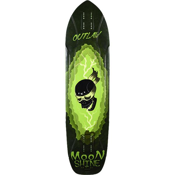"Moonshine MFG 2019 Outlaw White / Green Longboard Skateboard Deck - 9.75"" x 38.25"""