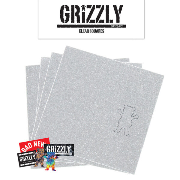 "Grizzly Grip Tape Grip Squares Clear Griptape 4 Pre-Cut Squares - 9"" x 33"""