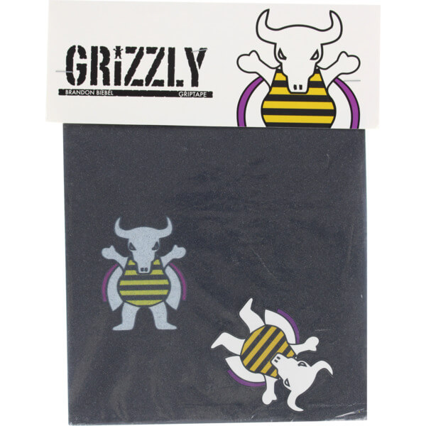 "Grizzly Grip Tape Brandon Biebel Signature Griptape 4 Pre-Cut Squares - 9"" x 33"""