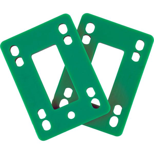 "Blank Skateboards Flat Green Skateboard Hard Risers - Set of Two (2) - 1/4"""