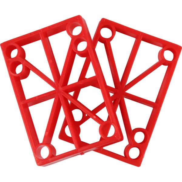 "Blank Skateboards Flat Red Skateboard Hard Risers - Set of Two (2) - 1/2"""
