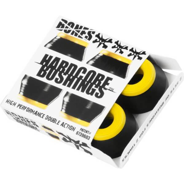 Bones Wheels Hardcore 91A Black / Yellow Skateboard Bushings - Includes 4 Pieces - Medium