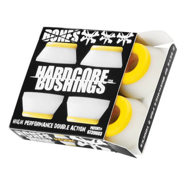 Bones Wheels Hardcore 91A White / Yellow Skateboard Bushings - Includes 4 Pieces - Medium