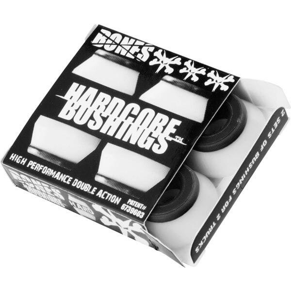 Bones Wheels Hardcore White / Black Skateboard Bushings - Includes 4 Pieces - Hard