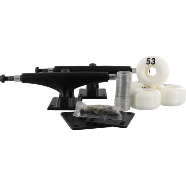 "Essentials Black Trucks with 53mm White Wheels, Bearings & Hardware Kit - 5.25"" Hanger 8.0"" Axle (Set of 2)"