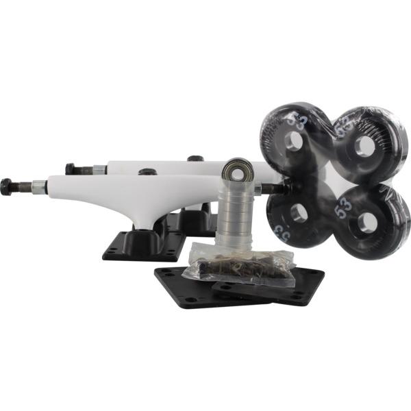 "Essentials White Black Trucks with 53mm Black Wheels, Bearings & Hardware Kit - 5.25"" Hanger 8.0"" Axle (Set of 2)"