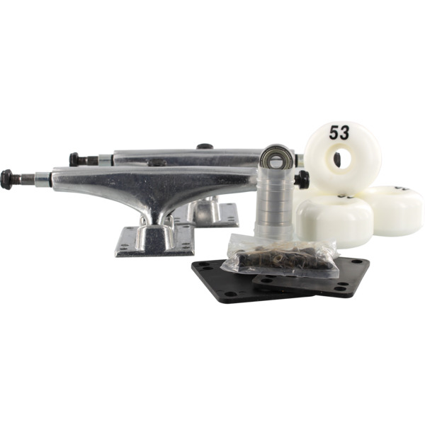 """Essentials Polished Trucks with 53mm White Wheels, Bearings & Hardware Kit - 5.5"""" Hanger 8.25"""" Axle (Set of 2)"""