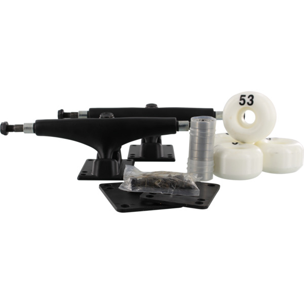 "Essentials Black Trucks with 53mm White Wheels, Bearings & Hardware Kit - 5.5"" Hanger 8.25"" Axle (Set of 2)"
