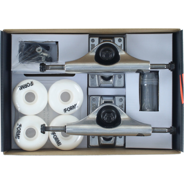 """Industrial Polished Trucks with 52mm White Wheels, Bearings & Hardware Kit - 4.75"""" Hanger 7.5"""" Axle (Set of 2)"""