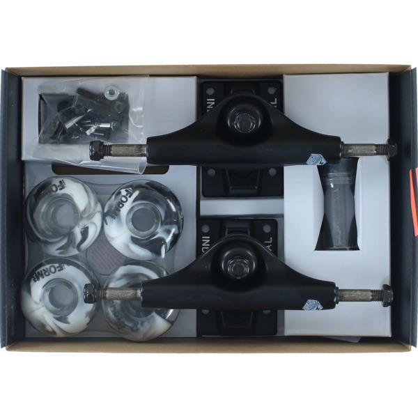 "Industrial Black Trucks with 52mm Black Swirl Wheels, Bearings & Hardware Kit - 4.75"" Hanger 7.5"" Axle (Set of 2)"