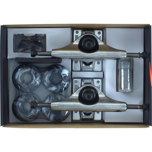"Industrial Polished Trucks with 52mm Black Swirl Wheels, Bearings & Hardware Kit - 5.0"" Hanger 7.75"" Axle (Set of 2)"