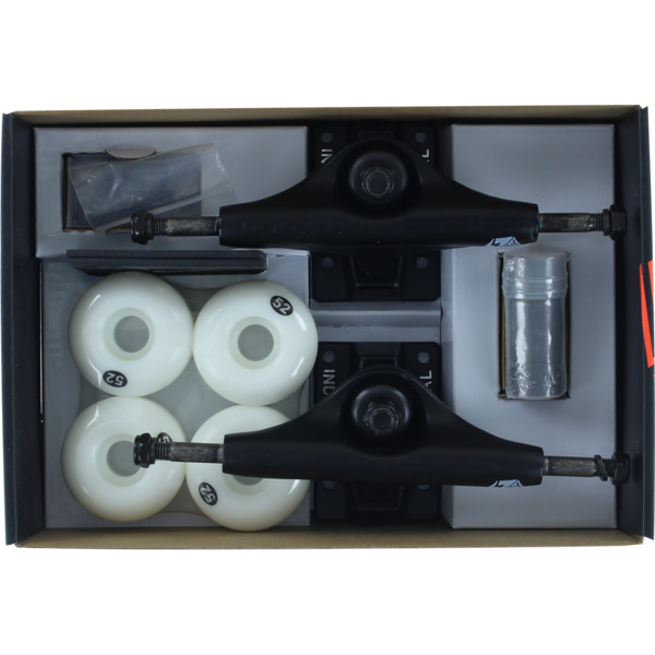 "Industrial Black Trucks with 52mm White Wheels, Bearings & Hardware Kit - 5.0"" Hanger 7.75"" Axle (Set of 2)"