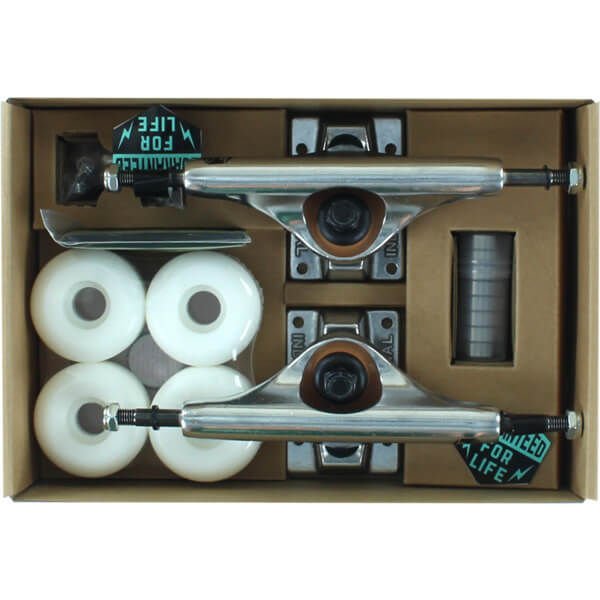 """Industrial Polished Trucks Polished with 52mm White Wheels, Bearings & Hardware Kit - 5.25"""" Hanger 8.0"""" Axle (Set of 2)"""