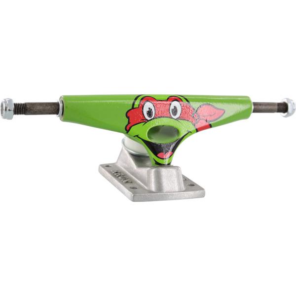 "Krux Trucks Standard TMNT Raphael Green / Silver Skateboard Trucks - 5.0"" Hanger 7.6"" Axle (Set of 2)"
