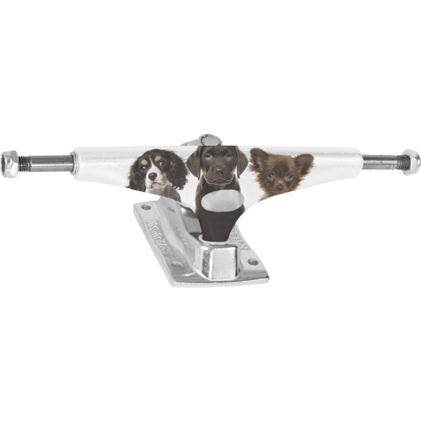 "Krux Trucks Standard Puppies White / Silver Skateboard Trucks - 5.625"" Hanger 8.25"" Axle (Set of 2)"