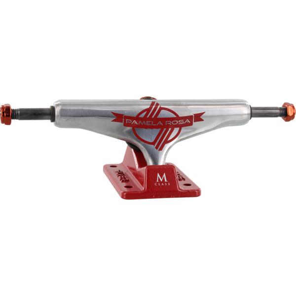 """Silver Trucks M-Hollow Pamela Rosa / Red Skateboard Trucks - 5.25"""" Hanger 8.0"""" Axle (Set of 2)"""