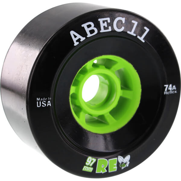 ABEC 11 ReFly Black / Lime Skateboard Wheels - 97mm 74a (Set of 4)