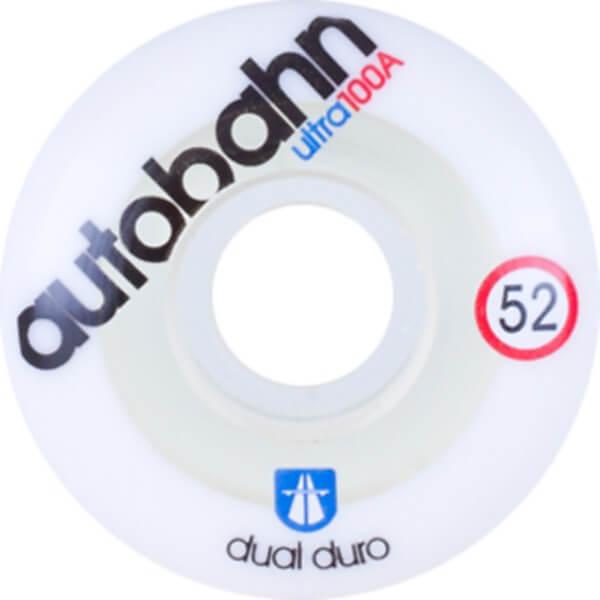 Autobahn Wheel Company Dual Durometer Ultra White / Clear Skateboard Wheels - 52mm 100a (Set of 4)