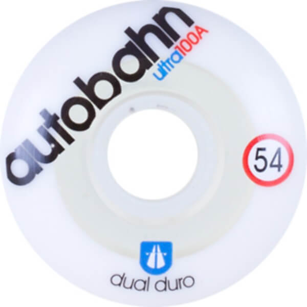 Autobahn Wheel Company Dual Durometer Ultra White / Clear Skateboard Wheels - 54mm 100a (Set of 4)