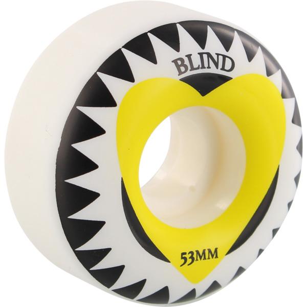 Blind Skateboards Heart White / Yellow Skateboard Wheels - 53mm 99a (Set of 4)