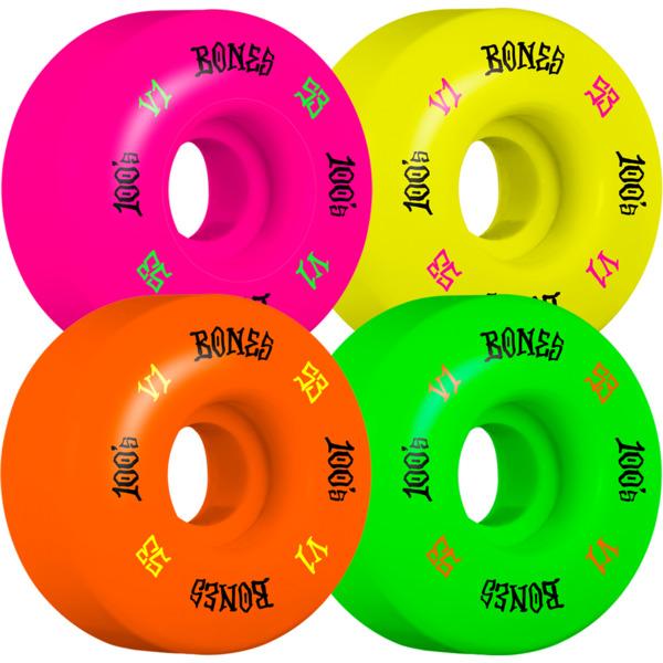 Bones Wheels 100's OG #4 V1 Multi Color Skateboard Wheels - 53mm 100a (Set of 4)