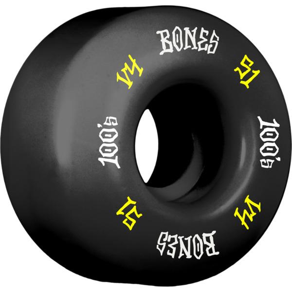 Bones Wheels 100's OG #12 V4 Black w/ Yellow / White Skateboard Wheels - 51mm 100a (Set of 4)
