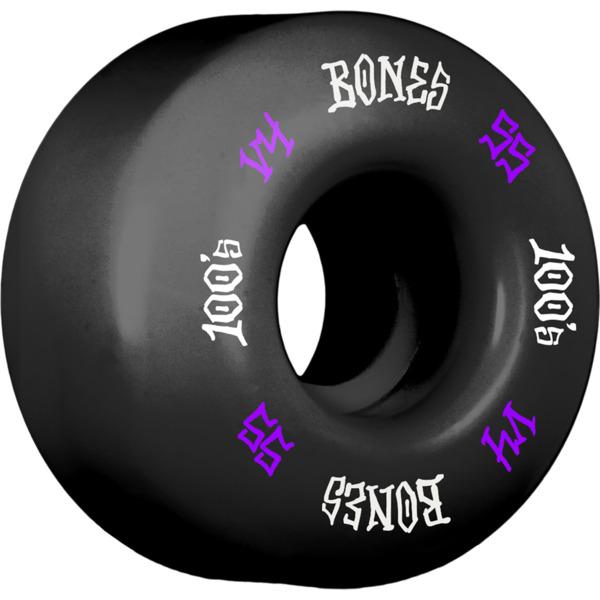 Bones Wheels 100's OG #12 V4 Black w/ Purple / White Skateboard Wheels - 55mm 100a (Set of 4)