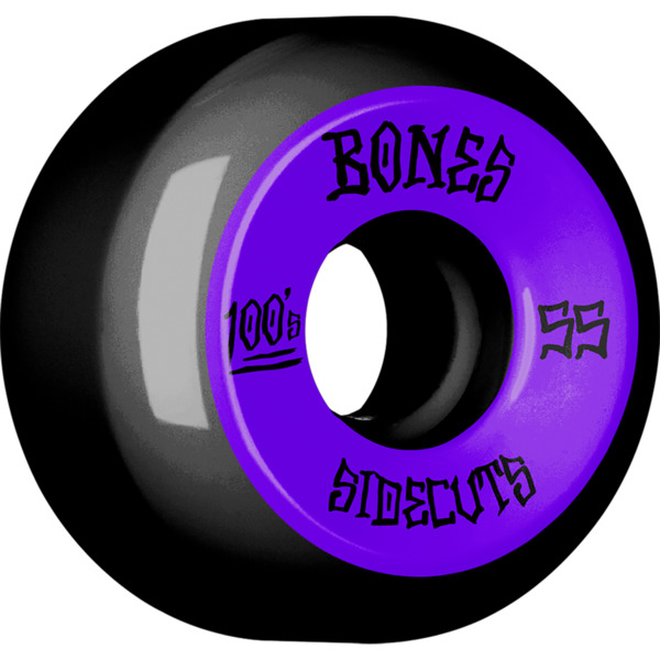 Bones Wheels OG 100's V5 Sidecut #2 Black w/ Purple Skateboard Wheels - 55mm 100a (Set of 4)