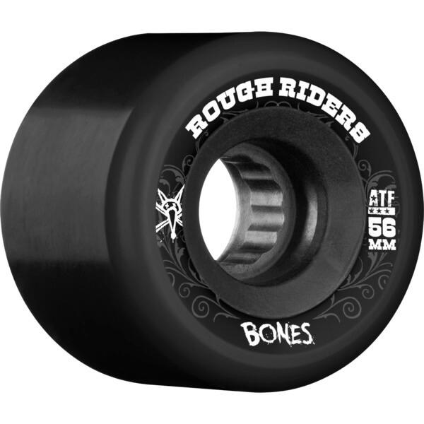 Bones Wheels Atf Rough Rider Black    Black Skateboard Wheels - 56mm 80a  Set Of 4