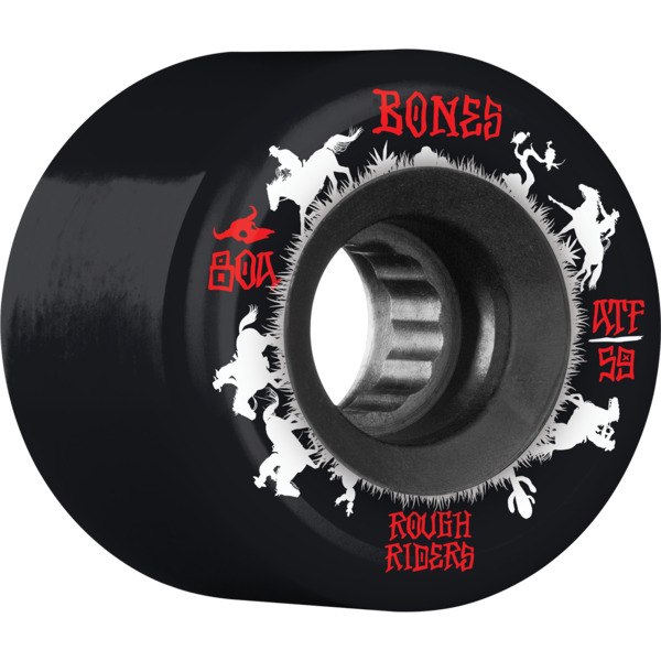 Bones Wheels ATF Rough Rider Wrangler Black Skateboard Wheels - 59mm 80a (Set of 4)