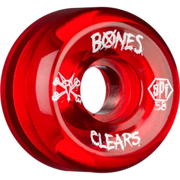 Bones Wheels Spf Clear Red Skateboard Wheels 58mm 84b